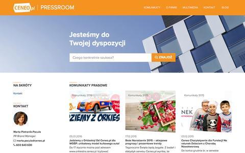 Screenshot of Press Page ceneo.pl - Ceneo Pressroom   Praca w Ceneo to nowe wyzwania i najlepsze warunki do rozwoju. Nasze unikalne podejście do zarządzania tworzy wyjątkową atmosferę, pełną otwartości i entuzjazmu. - captured Jan. 13, 2016