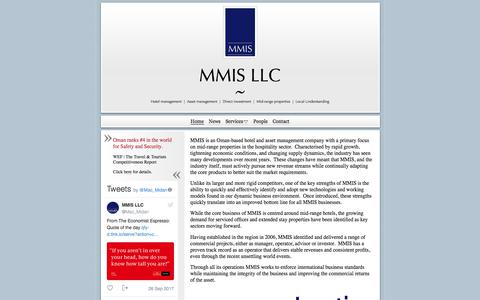 Screenshot of Home Page mmis.co - Mid-range hotel operators and investors | Asset managers - captured Sept. 30, 2017
