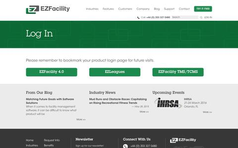 Screenshot of Login Page ezfacility.co.uk - Log In | EZFacility UK - Booking, Management and Membership Software - captured Jan. 24, 2016