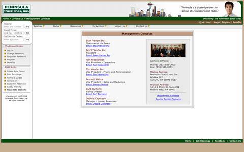 Screenshot of Team Page peninsulatruck.com - Management Contacts - captured Oct. 31, 2016