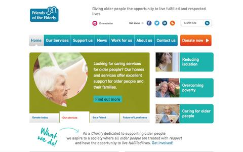 Screenshot of Home Page fote.org.uk - Care homes for the Elderly, Dementia care | Friends of the Elderly - captured Oct. 6, 2014