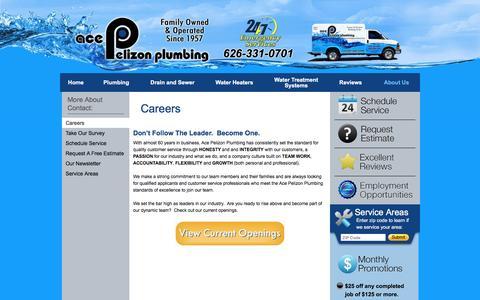 Screenshot of Jobs Page acepelizon.com - Careers | Ace Pelizon Plumbing - captured Nov. 20, 2016