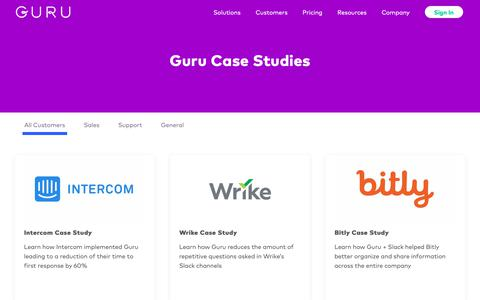 Screenshot of Case Studies Page getguru.com - Customer Case Studies - Guru - captured Sept. 30, 2018