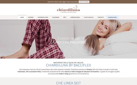 Screenshot of Home Page chiardiluna.com - Chiardiluna - Materassi made in italy memory e molle insacchettate a Firenze, Prato e in tutta italia - captured Jan. 27, 2016