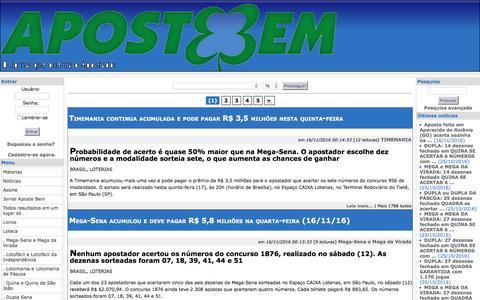 Screenshot of Press Page jornalapostebem.com.br - TIMEMANIA - Timemania continua acumulada e pode pagar R$ 3,5 milhões nesta quinta-feira - Notícias - Jornal Aposte Bem - captured Nov. 21, 2016
