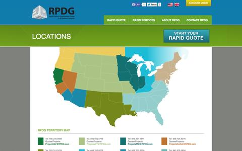 Screenshot of Contact Page Locations Page rpdg.com - RPDG - Locations | RPDG (Rapid Product Development Group) - captured Oct. 26, 2014