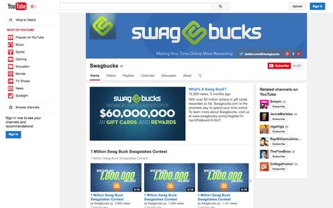 Screenshot of YouTube Page youtube.com - Swagbucks  - YouTube - captured Oct. 22, 2014