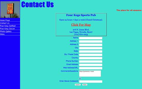 Screenshot of Contact Page fourkegs.com - Four Kegs Sports Pub, the place for all seasons - Contact Us - captured April 25, 2017
