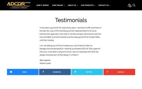 Screenshot of Testimonials Page adcordefense.com - Testimonials - - captured Nov. 20, 2016