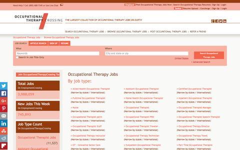 Screenshot of Jobs Page occupationaltherapycrossing.com - Occupational Therapy Jobs, Browse Jobs in Occupational Therapy By Job Type, City, State in United States   OccupationalTherapyCrossing.com - captured Jan. 12, 2016