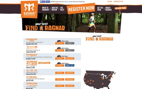 Screenshot of Locations Page ragnarrelay.com - Find Your Ragnar Event Location | Ragnar Relay Series - captured Sept. 24, 2014