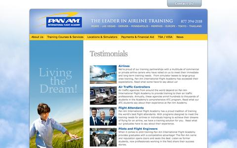 Screenshot of Testimonials Page panamacademy.com - Airbus Type Ratings | Learn about A320 Type Ratings | Pan Am Academy - captured Oct. 1, 2014