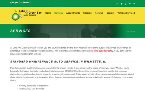 Screenshot of Services Page wilmettebp.com - Wilmette, IL Auto Repair Services | Lake And Green Bay BP, Inc - captured Sept. 26, 2018
