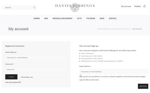 Screenshot of Signup Page Login Page danielgibbings.com - My account - Daniel Gibbings | Handcrafted Fine Jewelry - captured Sept. 20, 2018