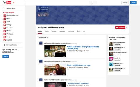 Screenshot of YouTube Page youtube.com - Hallowell and Branstetter  - YouTube - captured Oct. 22, 2014
