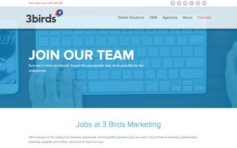 Screenshot of Jobs Page 3birdsmarketing.com - Jobs | Automotive Digital Marketing Careers | 3 Birds Marketing - captured March 23, 2016