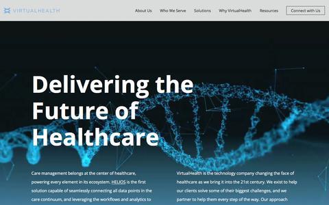 Screenshot of Home Page virtualhealth.com - VirtualHealth | The HELIOS Care Management and Population Health Platform - captured July 15, 2019