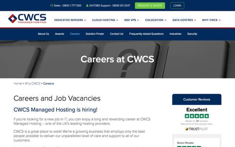 Screenshot of Jobs Page cwcs.co.uk - Careers and Job Vacancies at CWCS Managed Hosting - captured Oct. 15, 2016