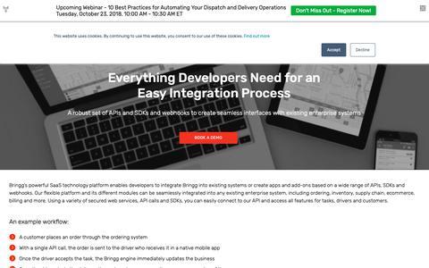 Screenshot of Developers Page bringg.com - The Delivery Logistics Platformfor Developers - captured Oct. 19, 2018
