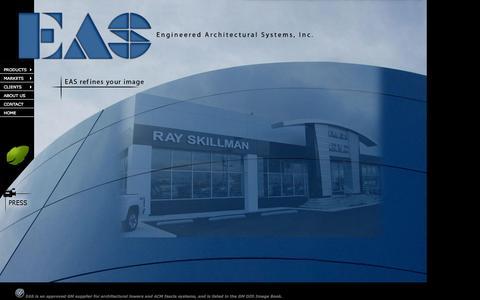 Screenshot of Home Page eas-image.com - EAS - Engineered Architectural Systems, Inc. - Alpharetta, Georgia - captured Oct. 2, 2014