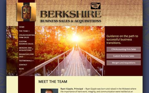 Screenshot of Team Page berkshirebsa.com - Scottsdale Business Broker, Ryan Gipple - Berkshire BSA - captured Feb. 7, 2016