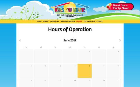 Screenshot of Hours Page kidsfunhouse.com - Hours — Kids Fun House - captured June 9, 2017