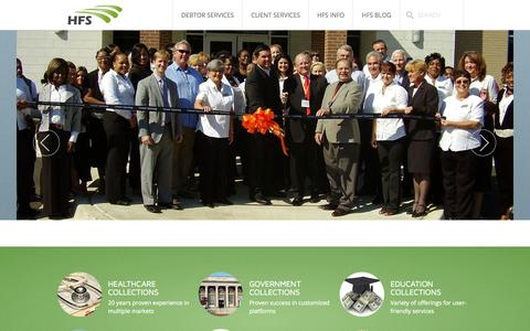 Screenshot of Home Page hfs-services.com - Home - captured Oct. 1, 2014