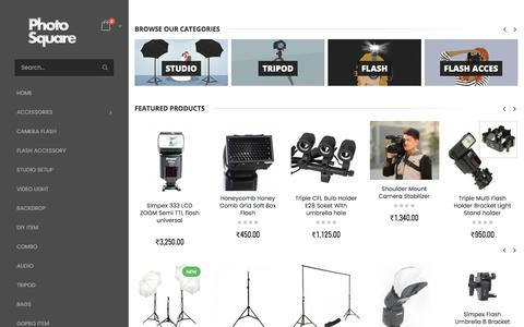 Screenshot of Home Page photosquare.in - Online Camera Accessory India Shop online Flash,Softbox,Camera Backpack,Studio Light Setup,Chroma Key Backdrop and more at photosquare - captured June 22, 2017