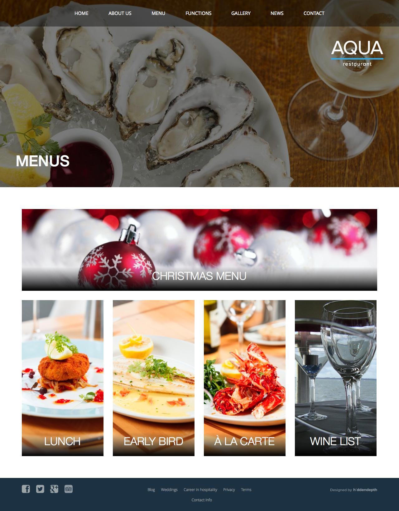 Screenshot of aqua.ie - Menus - Aqua Restaurant - captured Oct. 4, 2014