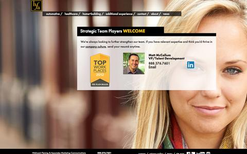 Screenshot of Jobs Page teamhfa.com - hfa Marketing and Advertising Agency | Careers - captured Oct. 2, 2014