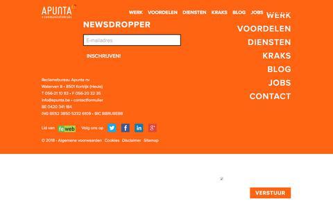 Screenshot of Contact Page apunta.be - Contact | Reclamebureau Apunta - captured July 30, 2018