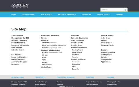 Screenshot of Site Map Page acorda.com - Acorda Therapeutics Site Map | Acorda.com - captured July 19, 2014