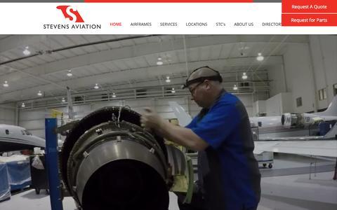 Screenshot of Home Page stevensaviation.com - Stevens Aviation - captured Oct. 20, 2018