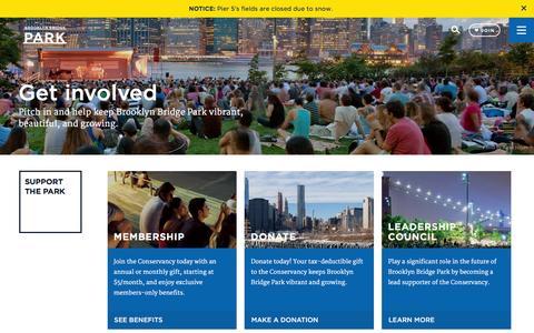 Screenshot of Signup Page brooklynbridgepark.org - Support & Get Involved - Brooklyn Bridge Park - captured Jan. 20, 2016