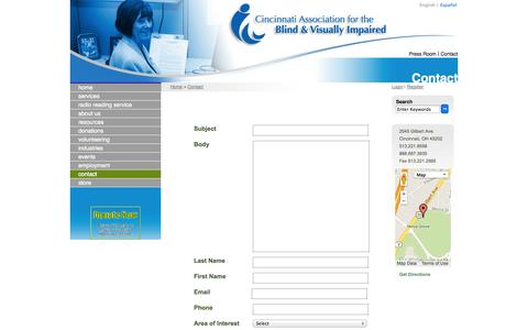 Screenshot of Contact Page cincyblind.org - Contact | Cincinnati Association for the Blind and Visually Impaired - captured Oct. 2, 2014
