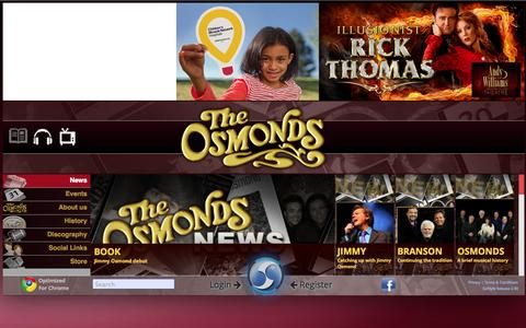Screenshot of Home Page osmonds.tv - Osmonds - captured Jan. 28, 2015