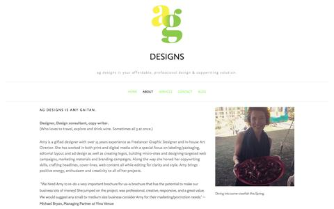 Screenshot of About Page amygaitan.com - About — ag designs - captured Oct. 6, 2017