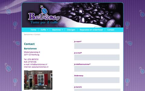 Screenshot of Contact Page bartolomeo.nl - Contact - captured June 1, 2017