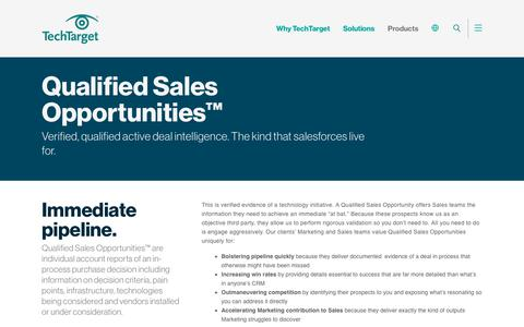 Qualified Sales Opportunities™ - Qualified active deal intelligence - TechTarget