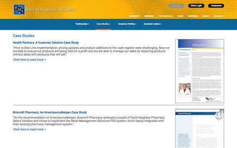 Screenshot of Case Studies Page rm-solutions.com - Pharmacy POS Case Studies   Retail Management Solutions - captured Aug. 16, 2015