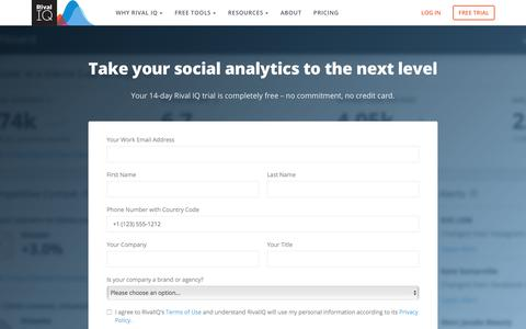 Screenshot of Signup Page Trial Page rivaliq.com - Start Your Free Trial of our Social Analytics Platform | Rival IQ - captured Nov. 10, 2019