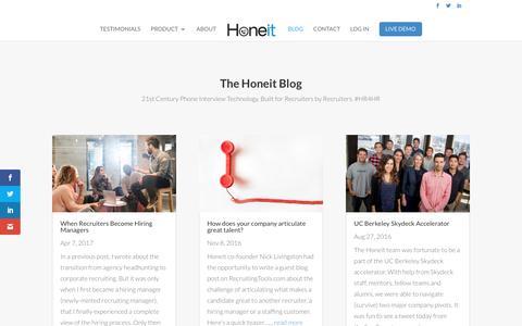 Screenshot of Blog honeit.com - The Honeit Blog: 21st Century Phone Interview Technology - captured May 21, 2017