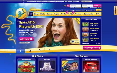 Screenshot of Home Page galabingo.com - Bingo | Play Online Bingo | Spend £10 play with £50 | Gala Bingo - captured Sept. 18, 2014