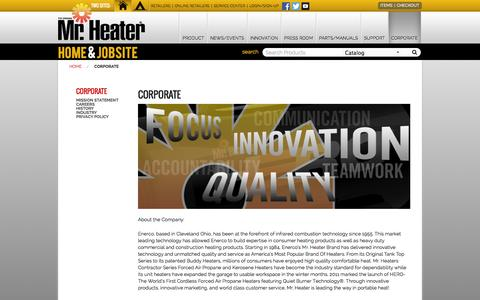 Screenshot of About Page mrheater.com - Corporate - captured Sept. 19, 2014