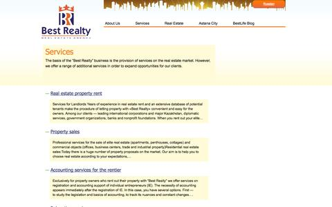 Screenshot of Services Page bestrealty.kz - Services - captured Oct. 5, 2014