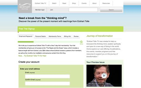 Screenshot of Trial Page eckharttolletv.com - Eckhart Tolle TV | Join Trial - captured Nov. 4, 2014