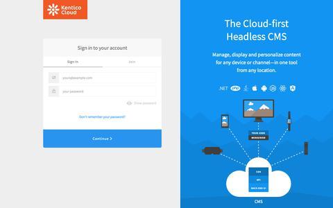 Screenshot of Login Page auth0.com - Sign in   Kentico Cloud - captured June 20, 2019