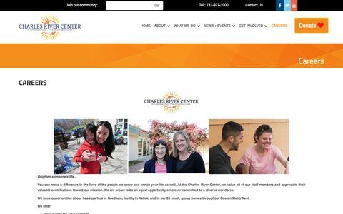 Screenshot of Jobs Page charlesrivercenter.org - Careers   Charles River Center - captured Nov. 15, 2018