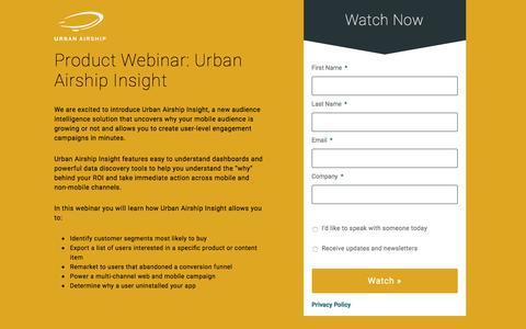 Product Webinar: Urban Airship Insight