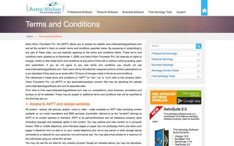Screenshot of Terms Page indianastrologysoftware.com - Terms and Conditions - IndianAstrologySoftware.com - captured Jan. 14, 2016